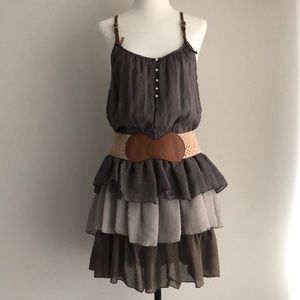 CECICO tiered ruffle dress with belt